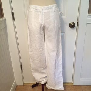 120 LINO NEW PANTS WHITE WIDE LEG LINEN 40 ITALY 4